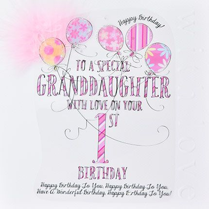 1st Birthday CARD For a SPECIAL Granddaughter - TO  A Special GRANDDAUGHTER