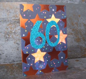 60th Birthday Card - SPARKLY Card - COPPER Foil Card - UNIQUE Birthday CARD - Age 60 Birthday CARD - CARD For DAD - Uncle - GRANDAD - Brother