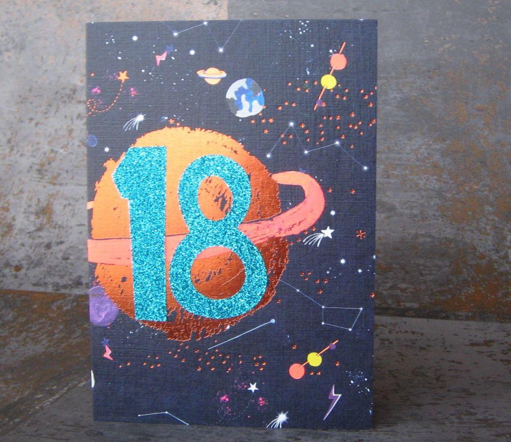 18th Birthday Card - SPARKLY Card - COPPER Foil Card - SPACE Birthday CARD