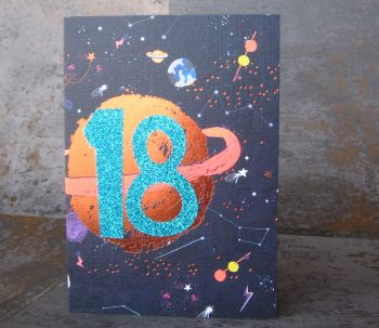 18th Birthday Card - SPARKLY Card - COPPER Foil Card - SPACE Birthday CARD - Age 18 Birthday CARD - CARD For SON - Grandson - BROTHER - Nephew