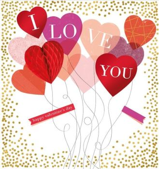 Happy Valentine's Day Card -  I LOVE YOU - GORGEOUS 3D HONEYCOMB Heart - Romantic VALENTINE'S Card - VALENTINE'S Card FOR Wife - HUSBAND - GIRLFRIEND