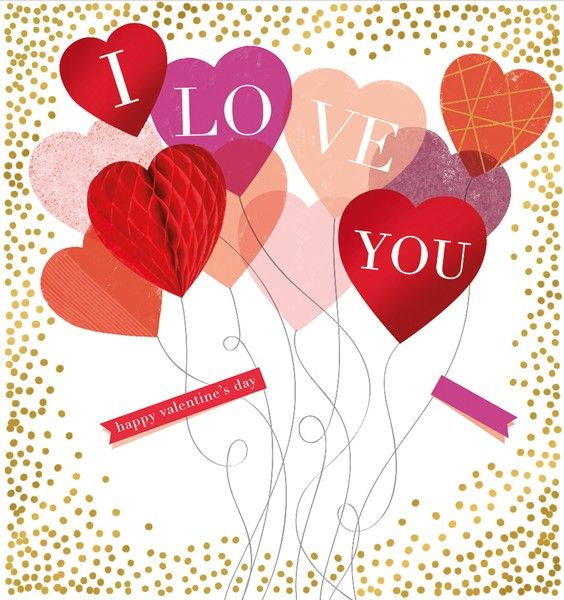 Happy Valentine's Day Card -  I LOVE YOU - GORGEOUS 3D HONEYCOMB Heart - Ro