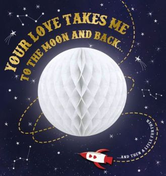 Valentine's Card - TO The MOON & BACK - Valentine Card - LUXURY Valentine CARD With HONEYCOMB 3D Moon - VALENTINE'S Card For HUSBAND - Boyfriend