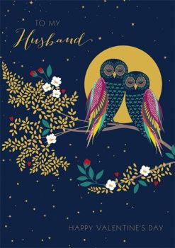 Husband Valentine's Cards - TO My HUSBAND - Happy Valentine's DAY - Owl VALENTINE Card - Valentine's CARD For HUSBAND - Beautiful Greeting CARD