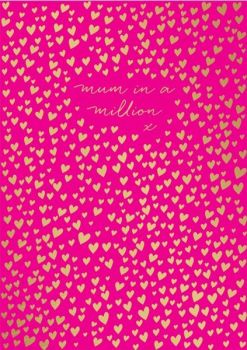 Mother's Day Card - MUM In A MILLION - Pretty MOTHER'S Day Card - CARD for Mum - GOLD Hearts MUM Card