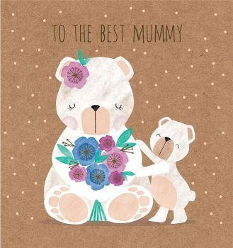 To The Best Mummy - MOTHER'S Day CARD - DOG Mother's Day CARDS -Mother's DAY Dog Cards - KRAFT Mother's Day CARD - Cute MUM Card