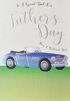 FATHER'S Day Card - SPORTS Car DAD - To A Great Dad -  Have A BRILLIANT Day - STYLISH Father's DAY CARD
