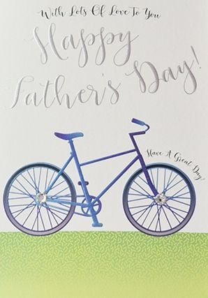 Fathers Day Cards - WITH Lots Of LOVE - Bicycle CARD For DAD - HAPPY Father