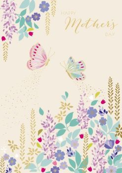 Happy Mother's Day Card - SPRING Flowers & BUTTERFLIES - Mothering SUNDAY - Butterfly Mother's DAY CARD