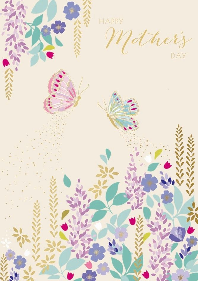 Happy Mother's Day Card - SPRING Flowers & BUTTERFLIES - Mothering SUNDAY -