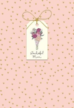 Wonderful Mum - MOTHERS Day Cards - Mother's DAY Card WITH Tag ATTACHMENT - FLOWER Bouquet - MOTHERING Sunday CARD - HAND Finished with BOW