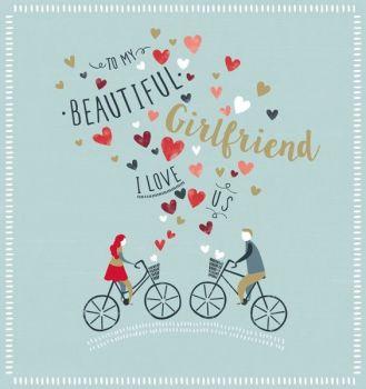 I Love Us - GIRLFRIEND Valentine's Card - TO My BEAUTIFUL Girlfriend - ROMANTIC Valentine's GREETING Card - BIKE - Bicycle VALENTINE'S Card
