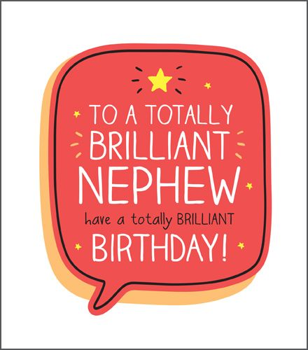 Birthday Card For NEPHEW - Totally BRILLIANT Nephew - NEPHEW Birthday Card