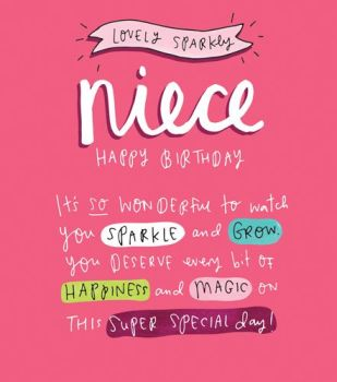 Birthday Card for NIECE - You DESERVE Every BIT Of HAPPINESS - Sparkly BIRTHDAY Card - HAPPY Birthday Greeting CARD