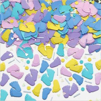 Baby Feet Confetti 14g - Metallic EMBOSSED Table Confetti - PARTY Supplies - METALLIC Confetti - Baby SHOWERS - Twins - TABLE Confetti