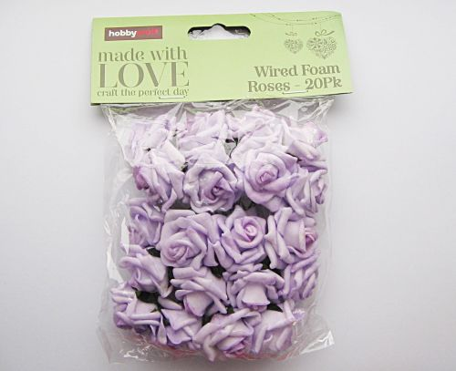 Lilac Wired Rose Heads 20 Pack Foam Roses Hobbycraft Wedding
