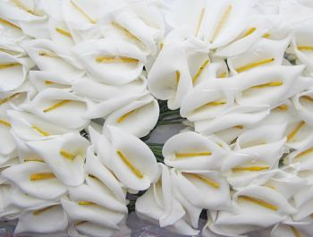 Artificial Calla Lilies - WHITE - Artificial Flowers - FLOWERS & Garlands - WHITE Foam Calla Lily BUNCH - Wedding Decoration - HOME Decor - CRAFTING