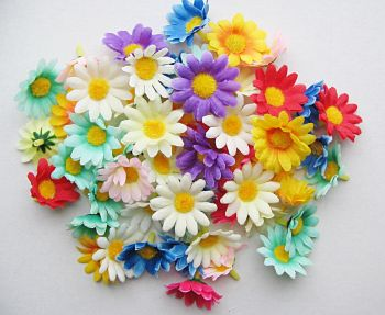4cm Mini Gerbera Daisy Sunflowers Flower Heads - 70Pcs ARTIFICIAL Daisy Gerbera HEADS - Silk FLOWERS - ASSORTED Colours - HAIR Clips - BRIDAL - CRAFT