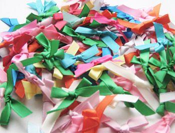 100 Pcs Small Ribbon Bows - ASSORTED Colours - Satin RIBBON Bows - SEWING Crafts - Pre-Tied RIBBON Bows - SATIN Ribbon - BOWS