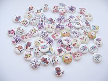 25x Owl Print 2-Hole Buttons - Owl BUTTONS - Wooden FASTENERS - Embellishments - SCRAPBOOKING - CARD Craft - SEWING - Knitting