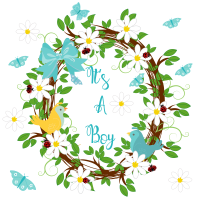 New Baby Cards - It's A BOY - HANDMADE - Baby BOY Cards - CUTE Congratulations CARD New BABY - NEWBORN Baby BOY - Spring FLOWERS