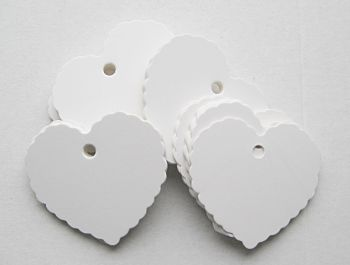 45PCS White Heart Shape Tags - BLANK Paper HANG Tags - WEDDING Favour - GIFT Tags - GIFT Wrapping - BLANK Label - DIY Crafts