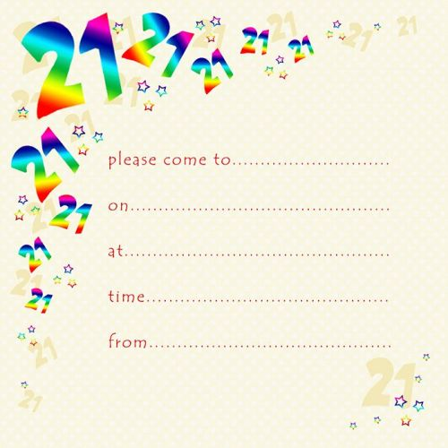 21st Rainbow Foil Birthday Party Invitation Cards 10pk PARTY Invitations