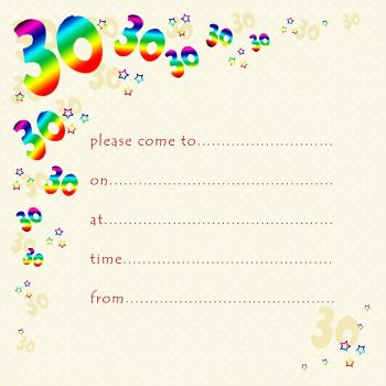 30th Rainbow Foil Birthday Party Invitation Cards 10pk – 30th PARTY Invitations - PACK of 30th BIRTHDAY Invitations - 30th Birthday INVITES