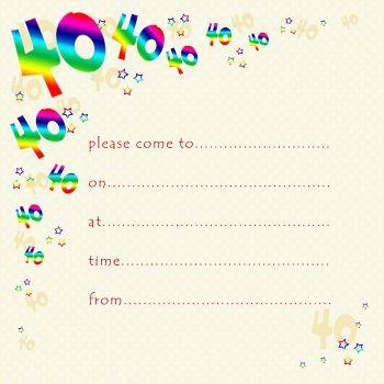 40th Rainbow Foil Birthday Party Invitation Cards 10pk – 40th PARTY Invitations - PACK of 40th BIRTHDAY Invitations - 40th Birthday INVITES