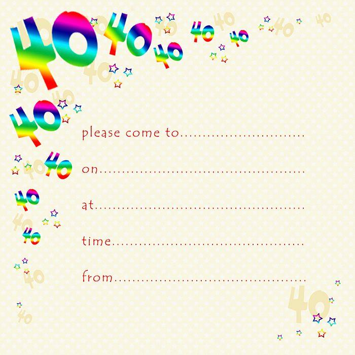 40th Rainbow Foil Birthday Party Invitation Cards 10pk – 40th PARTY Invitat