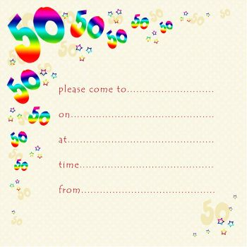 50th Rainbow Foil Birthday Party Invitation Cards 10pk – 50th PARTY Invitations - PACK of 50th BIRTHDAY Invitations - 50th Birthday INVITES