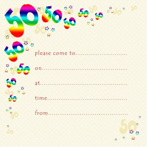 50th Rainbow Foil Birthday Party Invitation Cards 10pk 50th PARTY