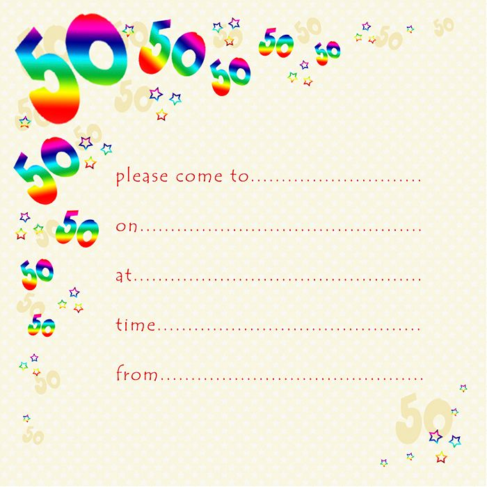 50th Rainbow Foil Birthday Party Invitation Cards 10pk – 50th PARTY Invitat