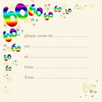 60th Rainbow Foil Birthday Party Invitation Cards 10pk – 60th PARTY Invitations - PACK of 60th BIRTHDAY Invitations - 60th Birthday INVITES