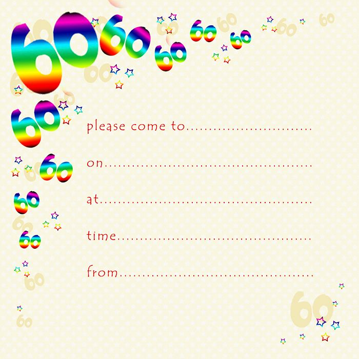 60th Rainbow Foil Birthday Party Invitation Cards 10pk – 60th PARTY Invitat
