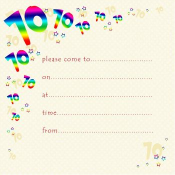 70th Rainbow Foil Birthday Party Invitation Cards 10pk – 70th PARTY Invitations - PACK of 70th BIRTHDAY Invitations - 70th Birthday INVITES