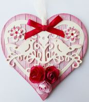 Wooden Heart Gift Tags - Handmade - HEART Shaped DECORATED Wood TAG - Wooden GIFT Tags - WOODEN Hearts on RIBBON - PRETTY Pink DECORATED Heart - Boxed
