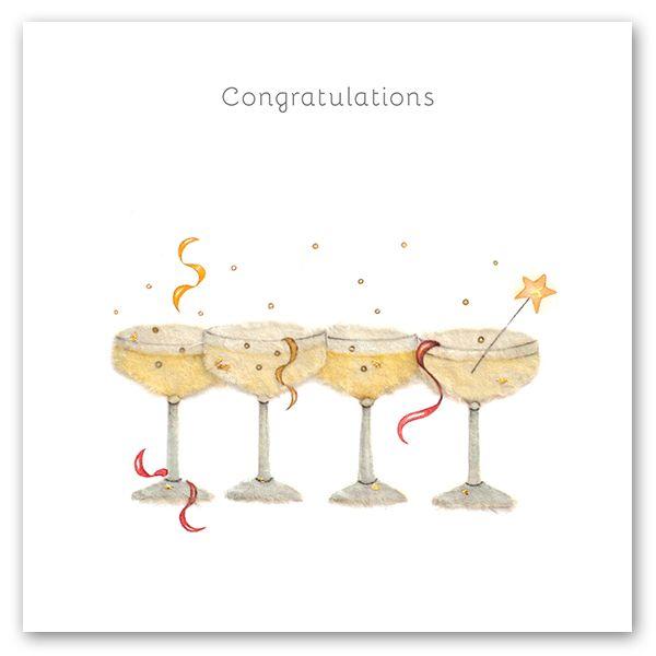 Champagne Flutes Congratulations Card - CONGRATULATIONS - CUTE Champagne Gr