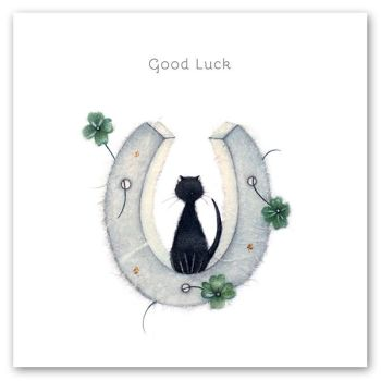 Good Luck Cards - GOOD Luck - HORSESHOE Good LUCK Card - BLACK Cat GOOD Luck CARD - EXAMS - Driving TEST - New JOB - LEAVING