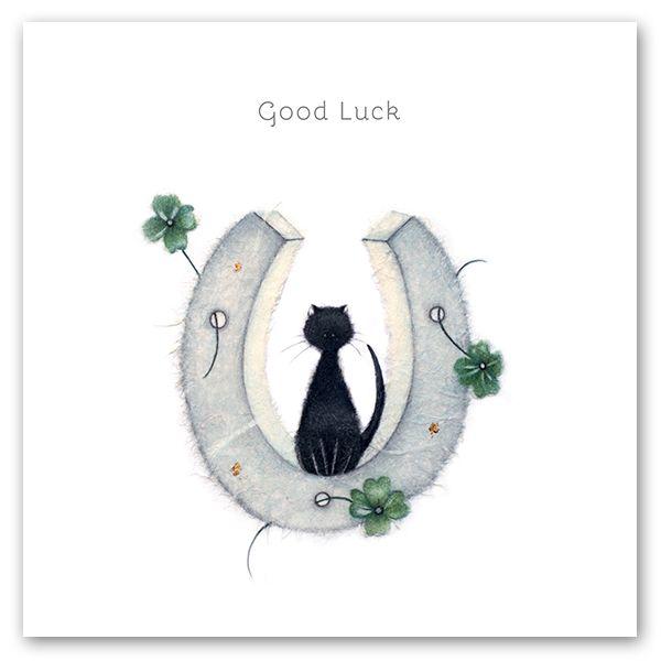 Good Luck Cards - GOOD Luck - HORSESHOE Good LUCK Card - BLACK Cat GOOD Luc