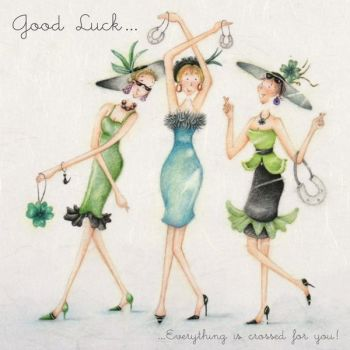 Good Luck Cards - EVERYTHING is CROSSED For YOU - Female GOOD Luck CARDS - FUN Good Luck Card - LADIES with HORSESHOES