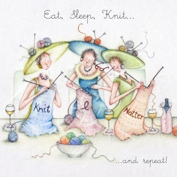 Knitting Card - Funny KNITTING Cards - Eat SLEEP Knit & Repeat - KNITTING B