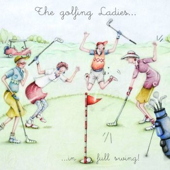 Golf Birthday Cards - FEMALE Golf BIRTHDAY Cards - The GOLFING Ladies - IN Full SWING - FUNNY Golf CARD - Female GOLFER Birthday CARD - Birthday CARD