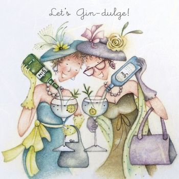 Best Friend Birthday Cards - LET'S Gin-DULGE - Birthday Cards FOR Best FRIENDS - Birthday CARD For Sister - PARTY Girl BIRTHDAY Card - Drinking CARD