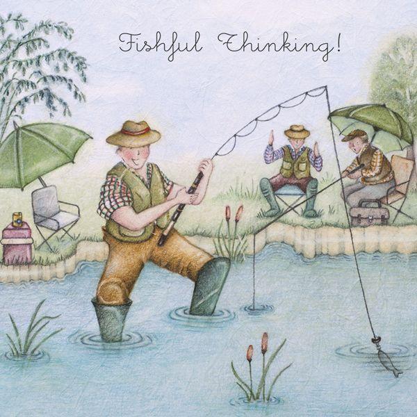 Fishing Birthday Cards - FISHFUL Thinking - FUNNY Fishing CARD - Funny FISH