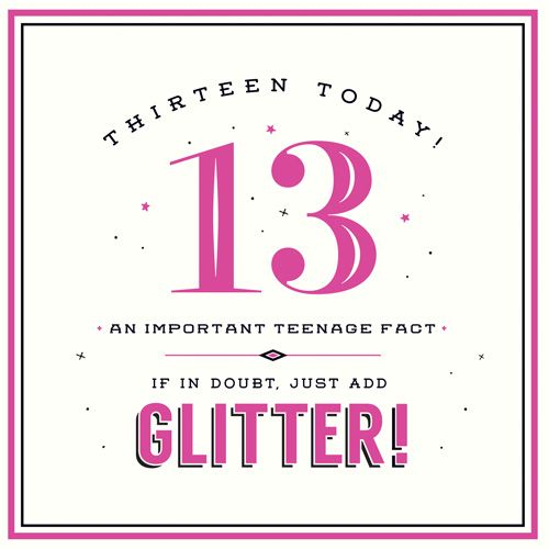 13th Birthday Card Girl - If In DOUBT Just ADD GLITTER - TEENAGER Birthday