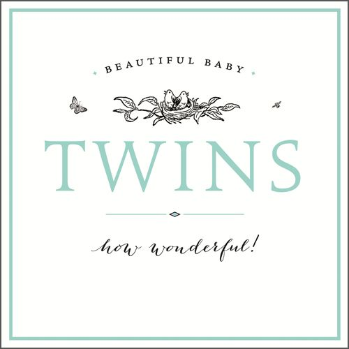 New Twins & Twin Birth Cards - BEAUTIFUL Baby Twins HOW WONDERFUL - Congrat