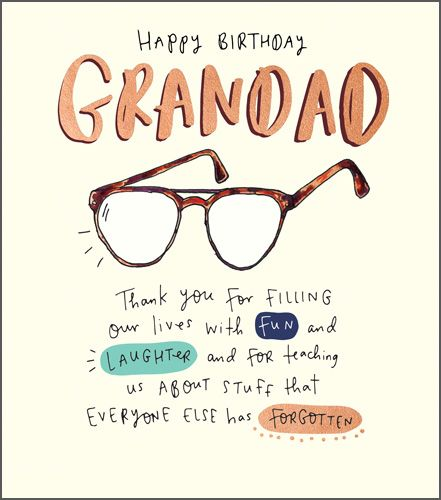 Grandad Birthday Cards - Happy Birthday Grandad Specs Card - FUN & LAUGHTER