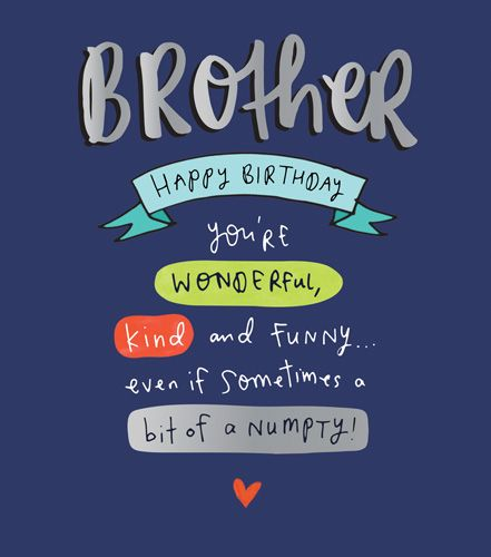 Brother Birthday Cards - A Bit Of A NUMPTY - Funny BROTHER Birthday CARDS -