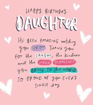 Birthday Cards For Daughter - So PROUD Of YOU - Happy BIRTHDAY Daughter CARD - Special DAUGHTER Birthday CARDS - PINK Sparkly Daughter BIRTHDAY Card